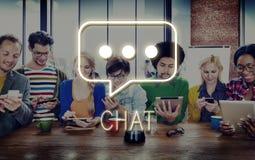 Rete sociale del messaggio di chiacchierata che manda un sms al concetto grafico Fotografia Stock Libera da Diritti