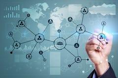 Rete sociale della struttura delle icone della gente Ora Gestione di risorse umane Internet di affari e concetto di tecnologia Fotografia Stock