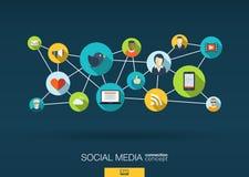 Rete sociale di media il fondo con integra le icone piane Immagini Stock Libere da Diritti