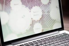 Rete sociale di media sullo schermo del computer portatile Fotografia Stock Libera da Diritti