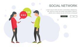 Rete sociale e vettore di chiacchierata Comunicazione globale, spedizione di e, chiamate di web Cima del rivestimento con i fumet royalty illustrazione gratis
