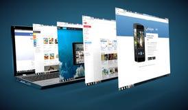 Rete sociale su un computer portatile Fotografie Stock