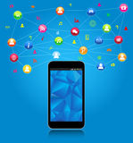 Rete sociale sullo Smart Phone Immagini Stock Libere da Diritti