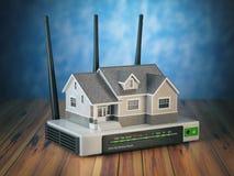 Rete wireless domestica Camera e router di Wi-Fi sulla tavola di legno Fotografia Stock