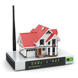 Rete wireless domestica. Camera sul router di Wi-Fi. illustrazione di stock