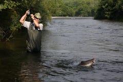 Retenes del pescador de salmones Foto de archivo libre de regalías