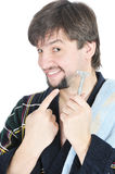 retenez le sourire de rasoir d'homme Image stock