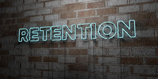 RETENTION - Glowing Neon Sign on stonework wall - 3D rendered royalty free stock illustration Royalty Free Stock Photo