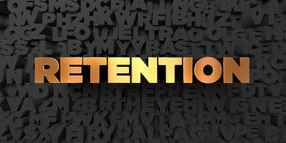 Retention - Gold text on black background - 3D rendered royalty free stock picture. This image can be used for an online website banner ad or a print postcard Royalty Free Stock Images
