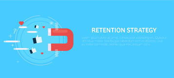 Retention strategy. Magnet attracts the likes. Flat illustration Royalty Free Stock Photo