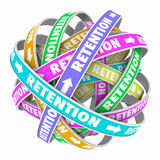Retention Word Cycle Retain Customers Employees. Retention word on rings in a cycle or circle to illustrate keeping, retaining and holding customers or employees Royalty Free Stock Images