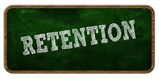 RETENTION written with chalk on green chalkboard. Wooden frame. Royalty Free Stock Image