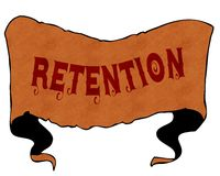 RETENTION written with vintage font on cartoon vintage ribbon. Stock Images