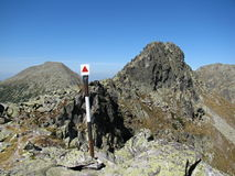 Retezat mountains in Romania - a mark on a rod before the Judele peak Royalty Free Stock Images