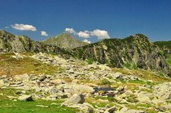 Retezat rocky valley. Retezat Peak,view from a rocky valley royalty free stock image