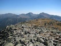 Retezatbergen in Roemenië - steengebied op de bovenkant van de Retezat-piek Stock Foto