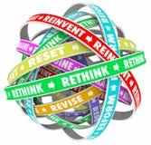Rethink Reinvent Reimagine Reset Words Loops Stock Photo