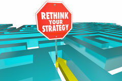 Rethink Your Strategy New Plan Maze Sign. 3d Illustration Royalty Free Stock Images