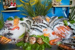 Rethymno, Греция - 7-ое июля 2017: натюрморт свежих рыб перед рестораном стоковые изображения rf