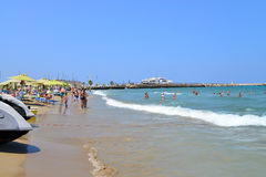 Rethymno city beach editorial Royalty Free Stock Photos