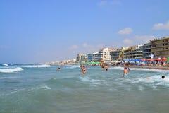 Rethymno city beach editorial Stock Photos