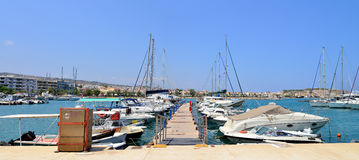 Rethymno city harbour Stock Photo