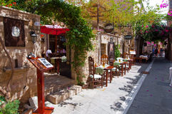 RETHYMNO,CRETE-JULY 23: Interior of a local restaurant on July 23,2014 in Rethymno city on Crete in Greece. royalty free stock image