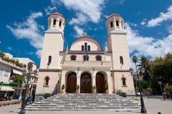RETHYMNO, CRETE-JULY 23: Ortodoksalny kościół Tessaron Martyron na Lipu 23,2014 w Rethymno mieście na Crete wyspie, Grecja Zdjęcie Stock