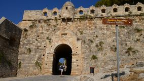 Rethymno Fortezza fortress main gate stock footage