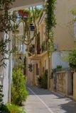 Rethymno, Grèce - 2 août 2016 : Grands cactus sur le balcon Images libres de droits