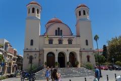 Rethymno, Grecia 26 de julio 2016: Iglesia y cuadrado de los cuatro Fotografía de archivo libre de regalías