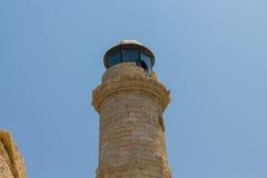 Rethymno Grecja, Lipiec, - 30, 2016: Stara latarnia morska Obrazy Stock