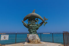 Rethymno Grecja, Sierpień, - 1, 2016: Symbol Rethymno statua Obrazy Stock
