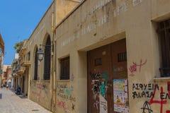 Rethymno Grecja, Sierpień, - 5, 2016: Zaniechany budynek Na Obrazy Stock