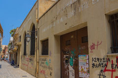 Rethymno, Greece - August  5, 2016: Abandoned building of the Na Stock Images