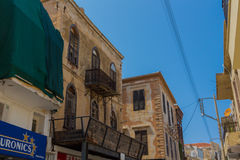 Rethymno, Greece - August  2, 2016:  Buildings in old town. Royalty Free Stock Images