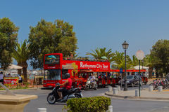 Rethymno, Greece - August  1, 2016:  Double decker touristic bus Stock Photo