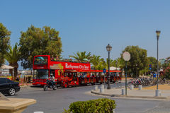 Rethymno, Greece - August  1, 2016:  Double decker touristic bus Royalty Free Stock Photography