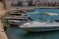 Rethymno, Greece - July  30, 2016: Boats in the Venetian harbour Royalty Free Stock Photo