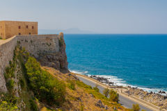 Rethymno, Greece - July  30, 2016: Fortezza Castle and sea. Stock Photos