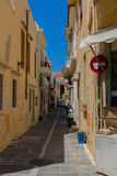 Rethymno, Greece - July  31, 2016: Narrow streets in old town. Royalty Free Stock Photography
