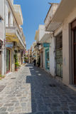 Rethymno, Greece. July  28, 2016: Narrow venetian streets in Old town of Rethymno Stock Photo