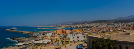 Rethymno, Greece - July 30, 2016: Panoramic view to Rethymno fr stock photo