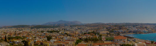 Rethymno, Greece - July 30, 2016: Panoramic view to Rethymno fr stock photos