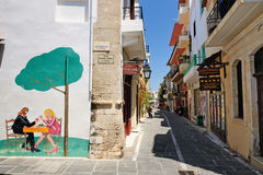 RETHYMNO, GREECE - JULY 12: Street on July 12, 2013 in city of Rethymno, Crete, Greece Royalty Free Stock Photography