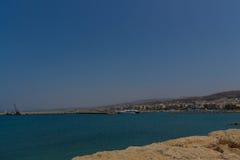Rethymno Grekland - Juli 30, 2016: Panoramautsikt till Rethymno f Arkivbilder