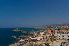 Rethymno Grekland - Juli 30, 2016: Panoramautsikt till Rethymno fr Royaltyfria Foton