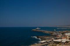 Rethymno Grekland - Juli 30, 2016: Panoramautsikt till Rethymno fr Arkivbild
