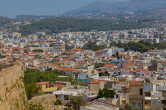 Rethymno Grekland - Juli 30, 2016: Panoramautsikt till Rethymno fr Fotografering för Bildbyråer