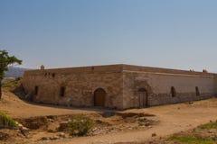Rethymno Grekland - Juli 30, 2016: Pulvertidskrifterna av fortet Arkivfoto